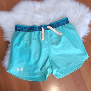Youth Under Armour girls green athletic shorts YLG